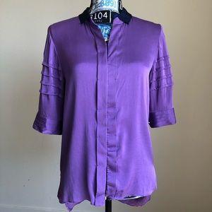 Elie Tahari Top Silk Purple High-Low Button Down